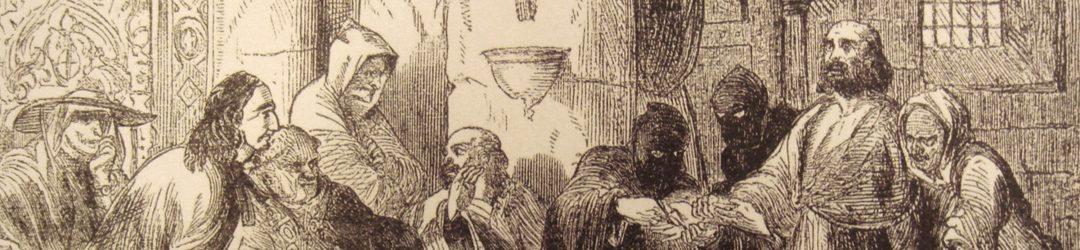 Darstellung des Verhörs von Jacques de Molay aus dem 19. Jh.