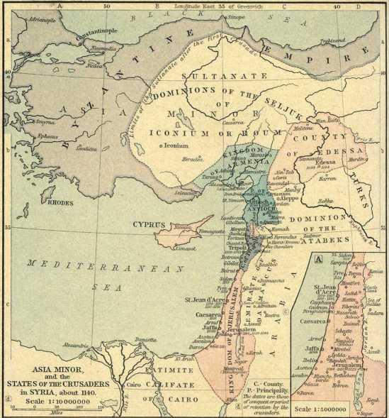 Das Königreich von Jerusalem um 1140